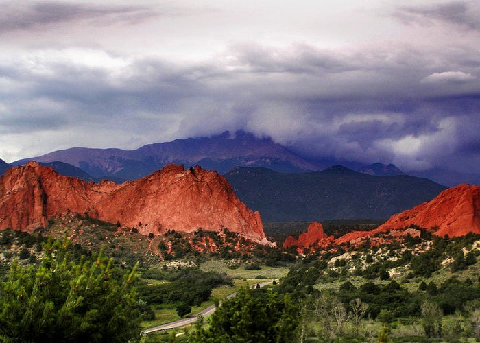 Pikes Peak Photographs Greeting Card featuring the photograph Pikes Peak Storm by Rod Seel