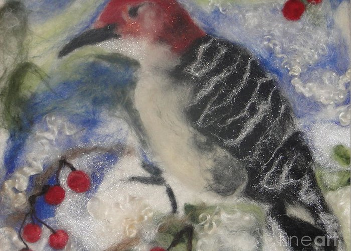 Winter Greeting Card featuring the tapestry - textile Pileated Wood Pecker by Shakti Chionis