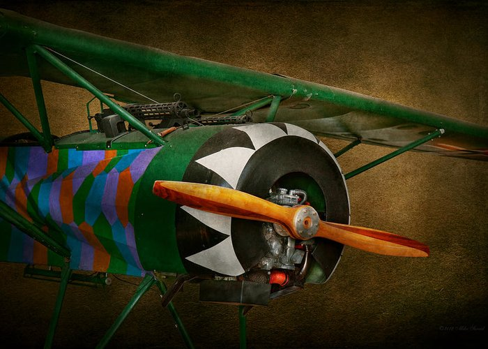 Airplane Greeting Card featuring the photograph Pilot - Plane - German Ww1 Fighter - Fokker D Viii by Mike Savad