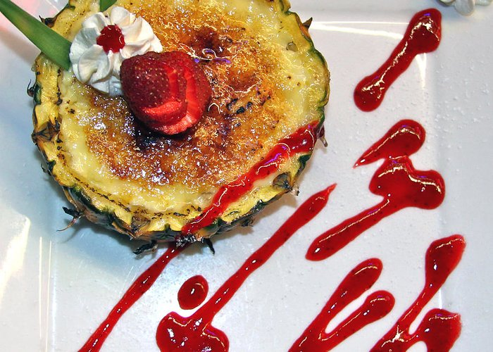 Dessert Greeting Card featuring the photograph Pineapple Creme Brulee Maui Style by Karon Melillo DeVega