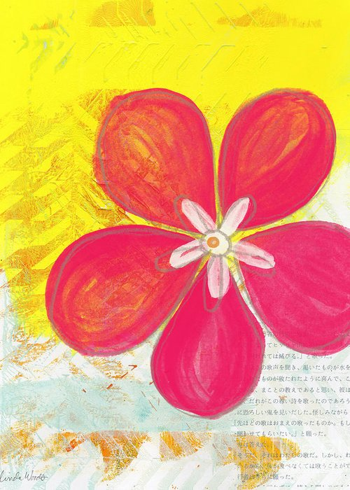Flower Greeting Card featuring the painting Pink Cherry Blossom by Linda Woods