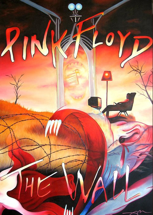 Pink Floyd Greeting Card featuring the painting Pink Floyd The Wall by Joshua Morton