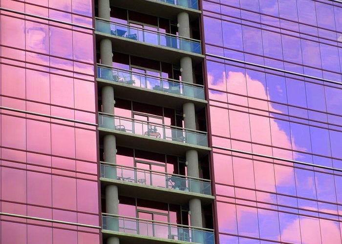 Pink Glass Greeting Card featuring the photograph Pink Glass Clouds by Randall Weidner