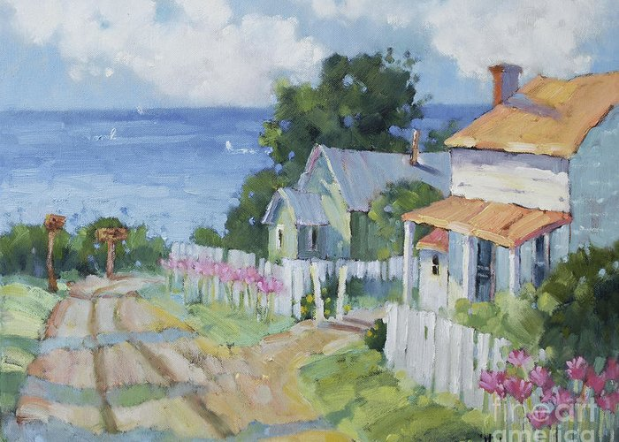 Impressionist Greeting Card featuring the painting Pink Lady Lilies By The Sea By Joyce Hicks by Joyce Hicks