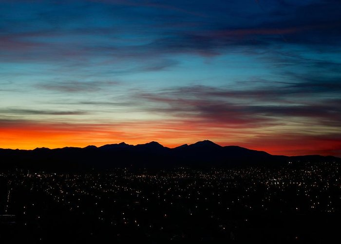 Sunset Greeting Card featuring the photograph Pintler Sunset by Kevin Bone