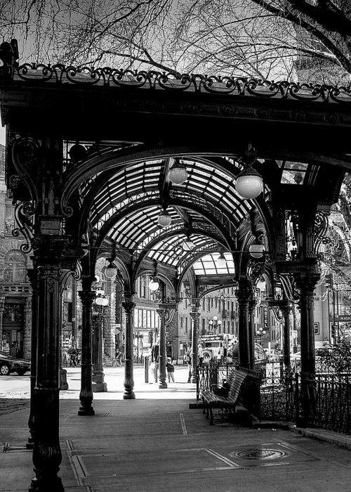 Black And White Greeting Card featuring the photograph Pioneer Square Pergola by David Patterson