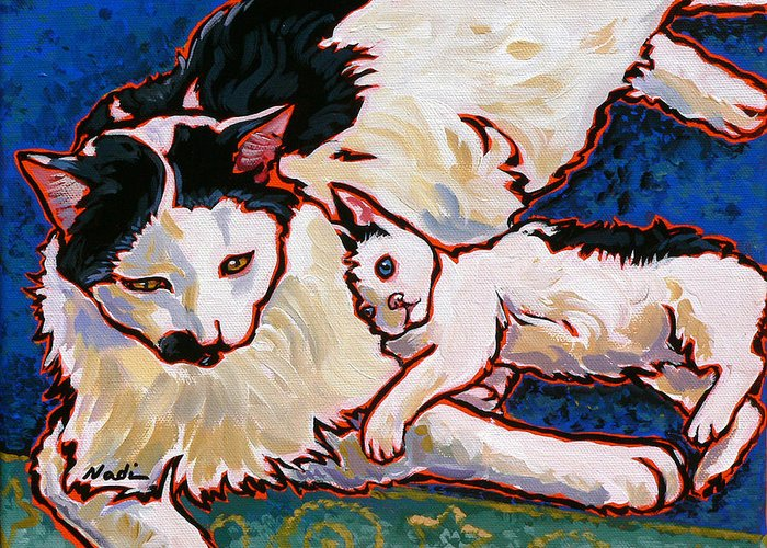 Cat Greeting Card featuring the painting Pirate And June by Nadi Spencer