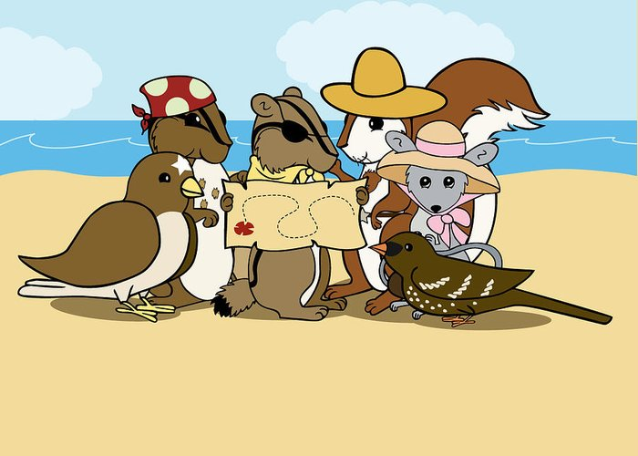 Chipmunk Greeting Card featuring the digital art Pirate Map by Christy Beckwith