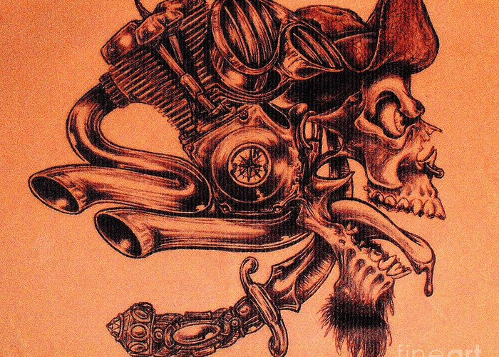 Motor Motorcycle Gearhead Mechanical Pirate Skull Twisted Metal Greeting Card featuring the drawing Pirate by Sean Ingram