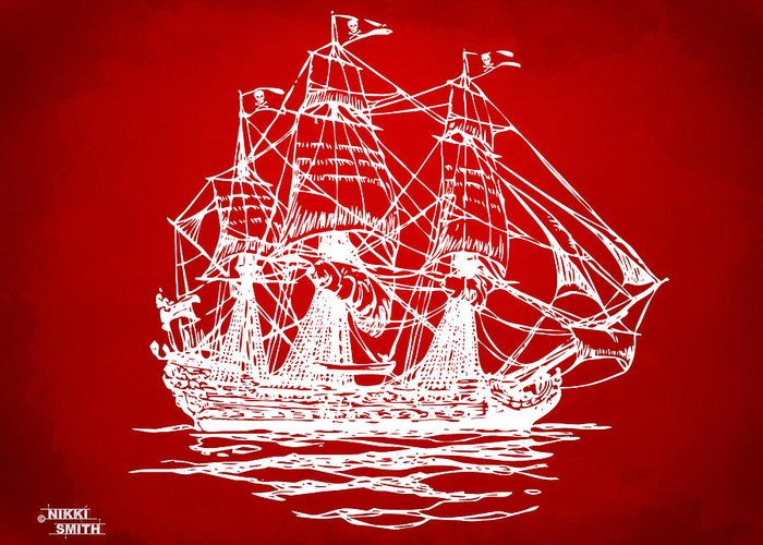 Pirate Ship Greeting Card featuring the drawing Pirate Ship Artwork - Red by Nikki Marie Smith