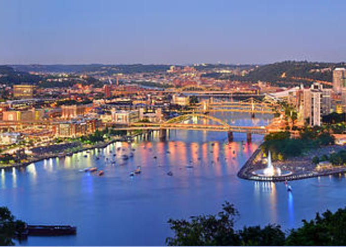 Pittsburgh Skyline Greeting Card featuring the photograph Pittsburgh Pennsylvania Skyline At Dusk Sunset Extra Wide Panorama by Jon Holiday