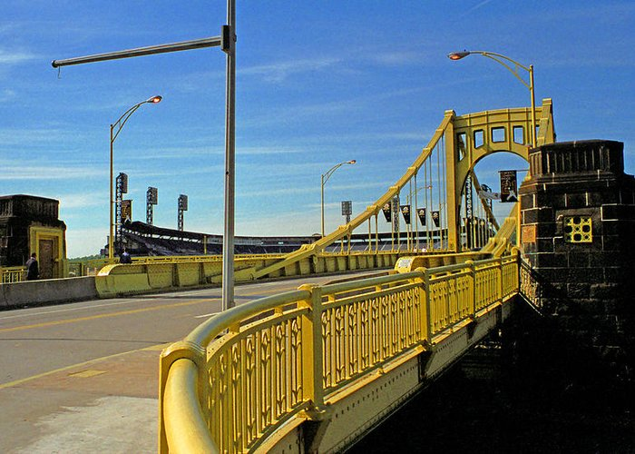Allegheny Greeting Card featuring the photograph Pittsburgh - Roberto Clemente Bridge by Frank Romeo