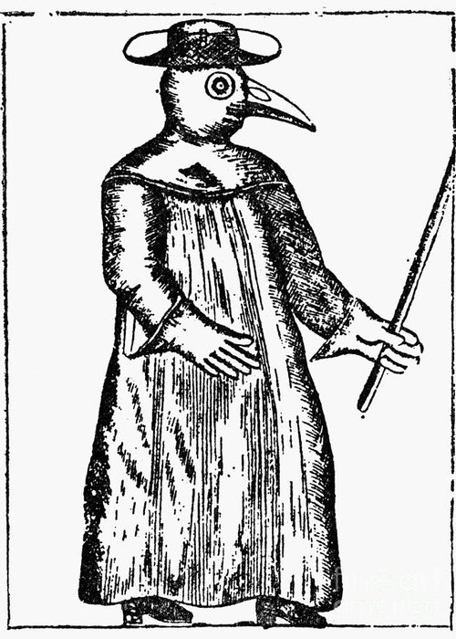 1720 Greeting Card featuring the photograph Plague Costume, 1720 by Granger