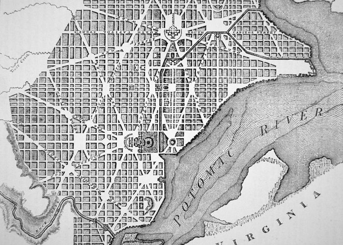D C; Dc; Map; Potomac River; Streets; Town; Usa; Us; Urban Planning Greeting Card featuring the drawing Plan Of The City Of Washington As Originally Laid Out In 1793 by American School