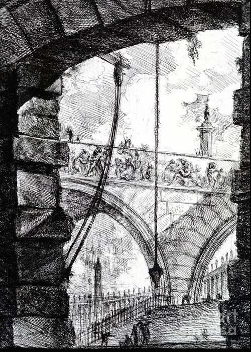 Prison; Archway; Arch; Arches; Frieze; Design; Architecture; Drawing; Sketch; Gaol; Jail; Invented; Imagined Greeting Card featuring the drawing Plate 4 From The Carceri Series by Giovanni Battista Piranesi