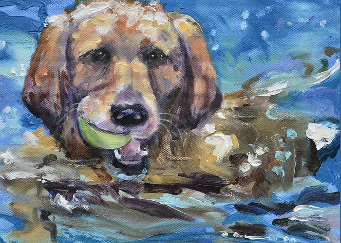 Retriever Greeting Card featuring the painting Playful Retriever by Donna Tuten