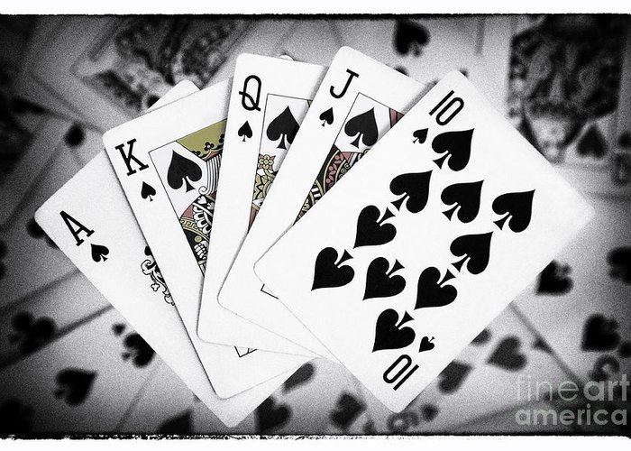 Playing Cards Greeting Card featuring the photograph Playing Cards Royal Flush With Digital Border And Effects by Natalie Kinnear