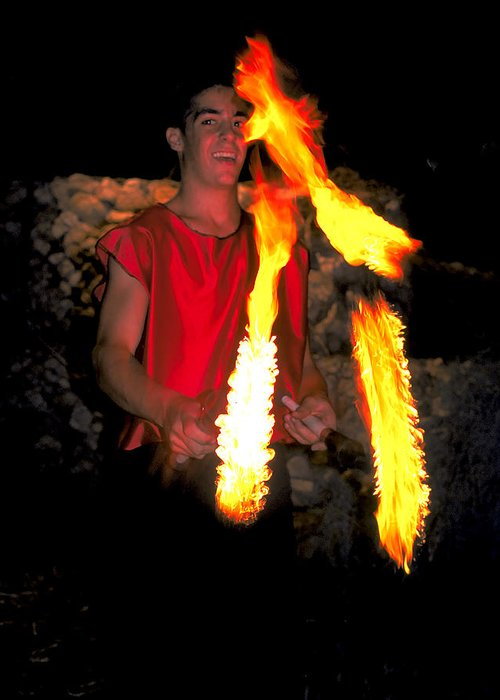 Young Man Greeting Card featuring the photograph Playing With Fire by Carl Purcell