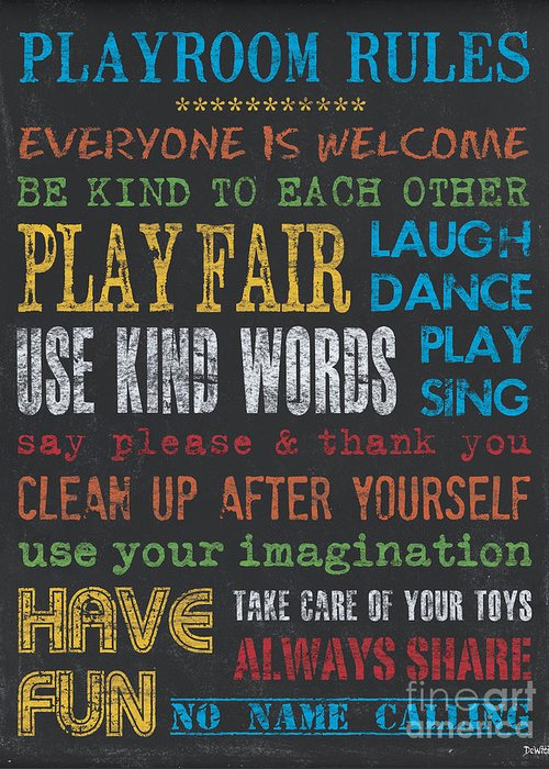 Playroom Greeting Card featuring the painting Playroom Rules by Debbie DeWitt