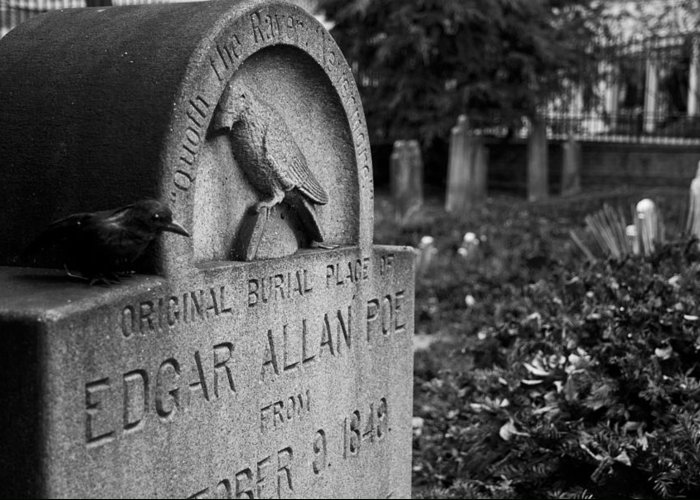 Edgar Allan Poe Greeting Card featuring the photograph Poe's Original Grave by Jennifer Ancker