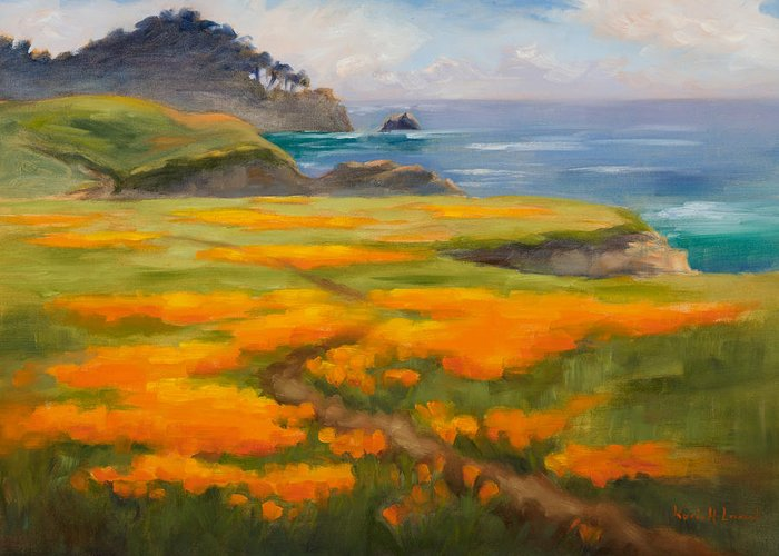 Point Lobos Greeting Card featuring the painting Point Lobos Poppies by Karin Leonard