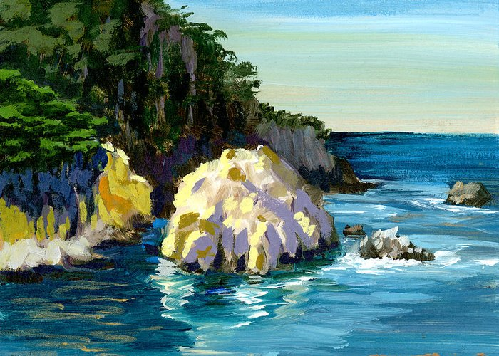 Point Lobos State Park Greeting Card featuring the painting Point Lobos Rock by Alice Leggett