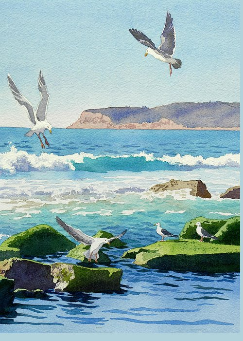 Point Loma Greeting Card featuring the painting Point Loma Rocks Waves And Seagulls by Mary Helmreich