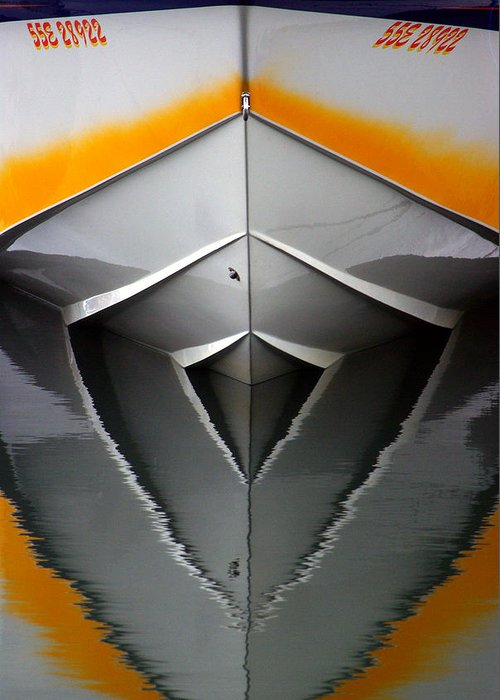 Boat Greeting Card featuring the photograph Pointy End Reflection by Paul Wash
