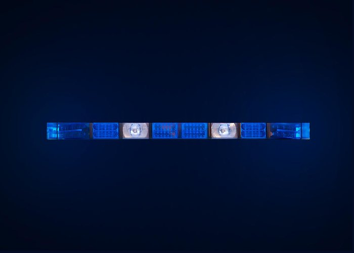 Ambulance Greeting Card featuring the photograph Police Emergency Lights With Blue Surrounding Light by Fizzy Image