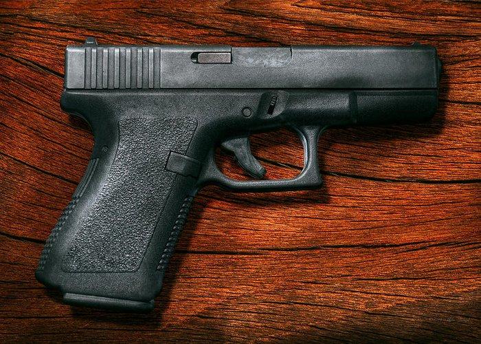 Savad Greeting Card featuring the photograph Police - Gun - The Modern Gun by Mike Savad