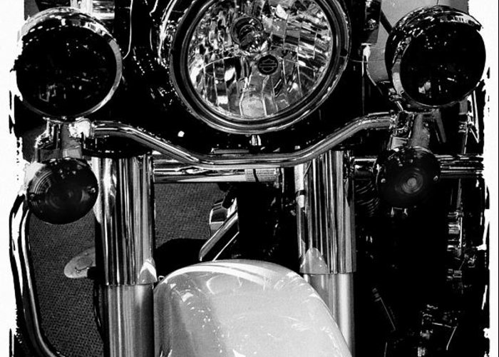 Classic Cycle Greeting Card featuring the photograph Police Harley II by David Patterson