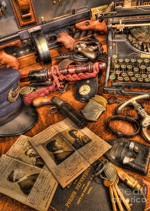 Police Greeting Card featuring the photograph Police Officer - The Detective's Desk by Lee Dos Santos