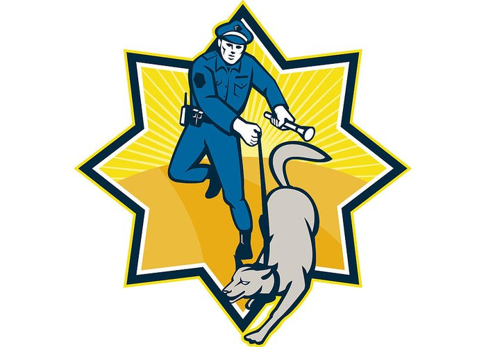 Policeman Greeting Card featuring the digital art Policeman Police Dog Canine Team by Aloysius Patrimonio