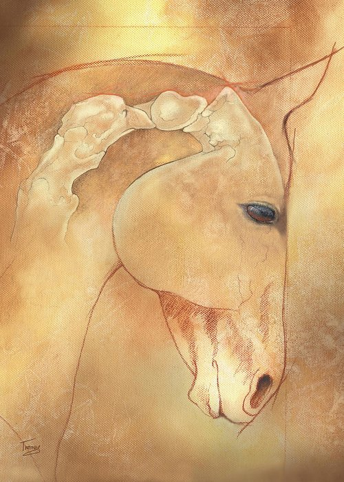 Atlas Greeting Card featuring the painting Poll Meet Atlas Axis by Catherine Twomey