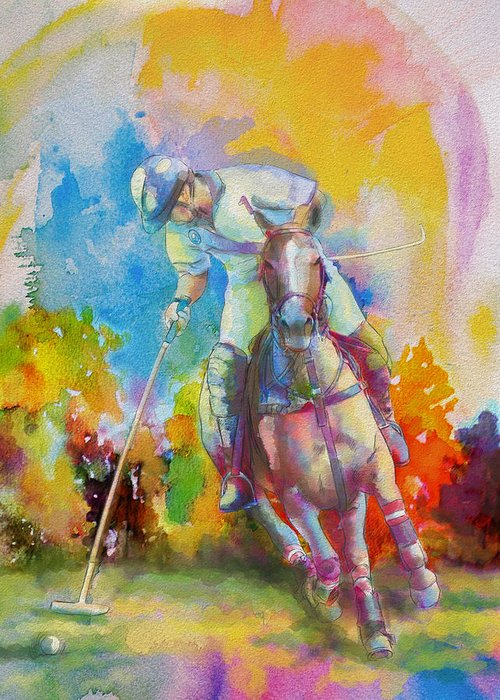 Sports Greeting Card featuring the painting Polo Art by Catf