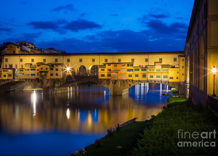 Arno Greeting Card featuring the photograph Ponte Vecchio Reflection by Inge Johnsson
