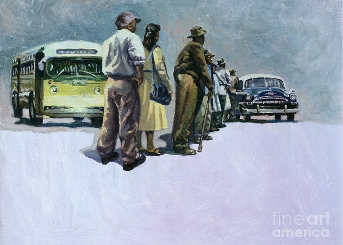 Rosa Parks Greeting Card featuring the painting Pools Of Defiance by Colin Bootman