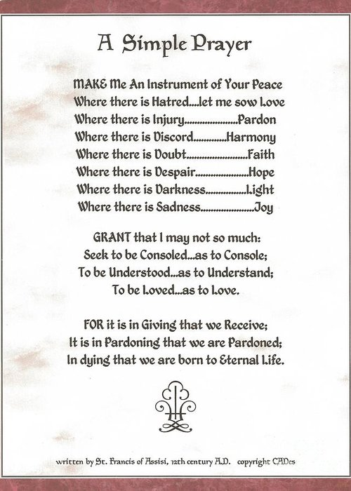 St. Francis Greeting Card featuring the mixed media Pope Francis St. Francis Simple Prayer Prayer For Peace by Desiderata Gallery