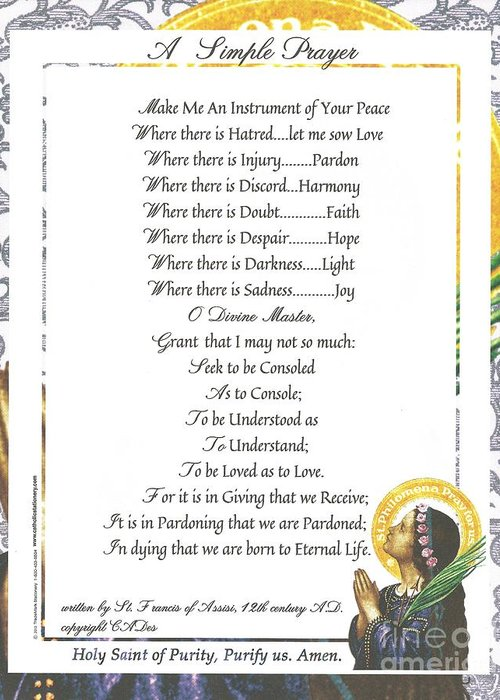 St. Francis Greeting Card featuring the mixed media Pope Francis St. Francis Simple Prayer Purity by Desiderata Gallery