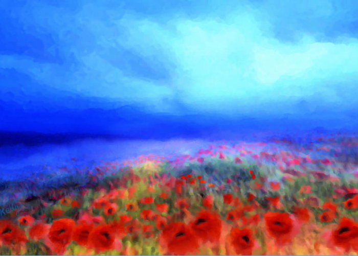 Floral Art Greeting Card featuring the mixed media Poppies In The Mist by Valerie Anne Kelly