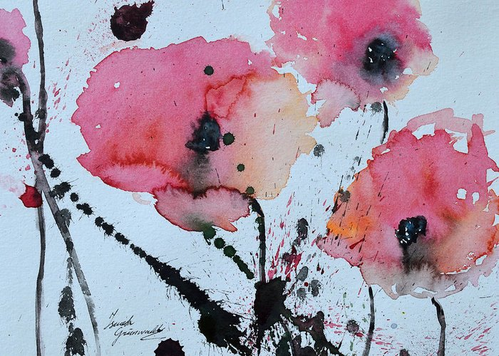 Poppies Greeting Card featuring the painting Poppies- Painting by Ismeta Gruenwald