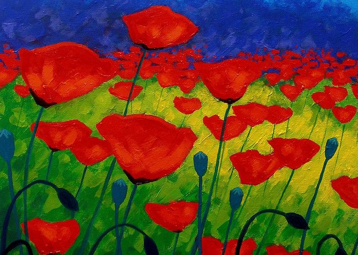 Poppies Greeting Card featuring the painting Poppy Corner II by John Nolan