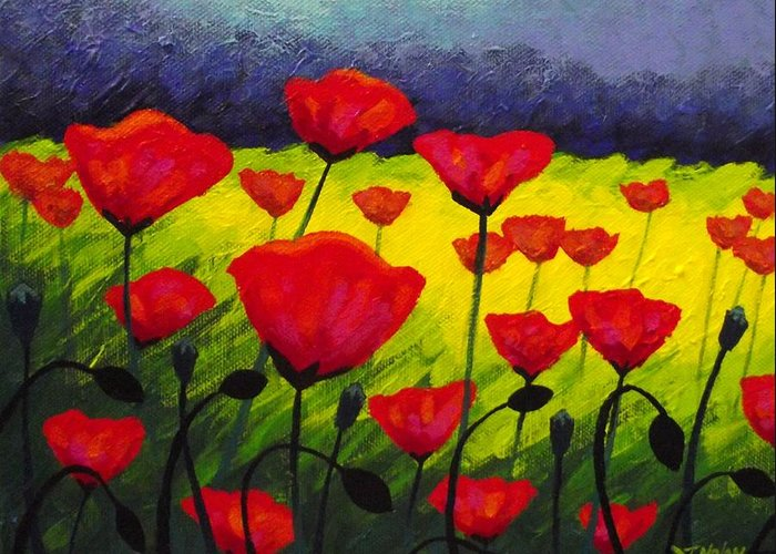 Poppies Greeting Card featuring the painting Poppy Corner IIi by John Nolan