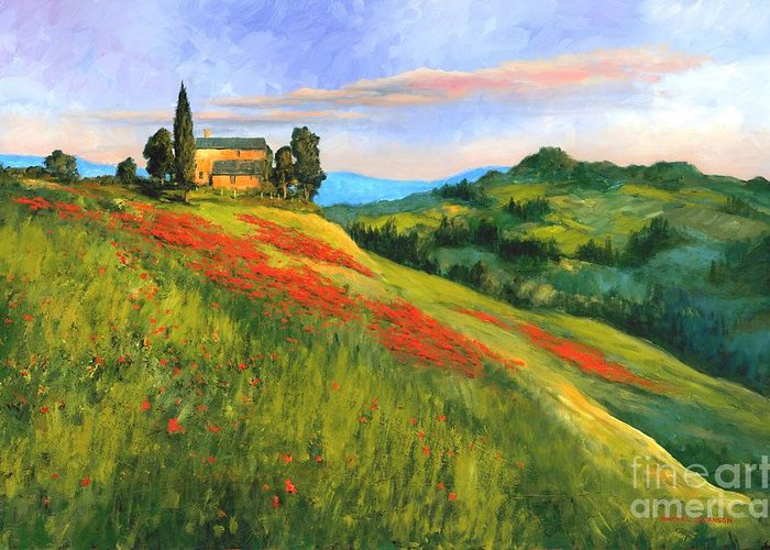Tuscany Landscape Greeting Card featuring the painting Poppy Hill by Michael Swanson