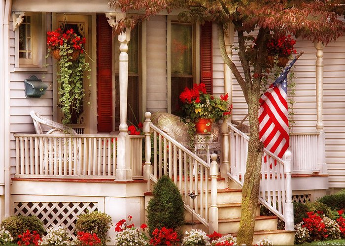 Savad Greeting Card featuring the photograph Porch - Americana by Mike Savad