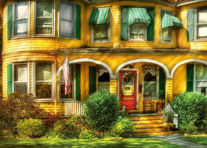 Savad Greeting Card featuring the photograph Porch - Cranford Nj - A Yellow Classic by Mike Savad