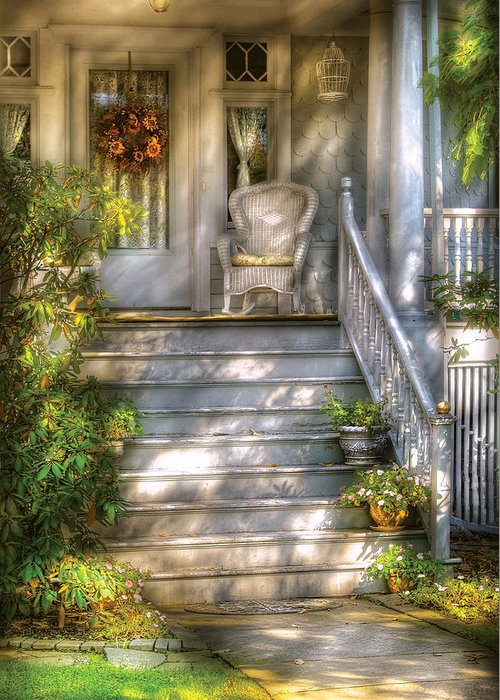 Savad Greeting Card featuring the photograph Porch - Westfield Nj - Grannies Porch by Mike Savad