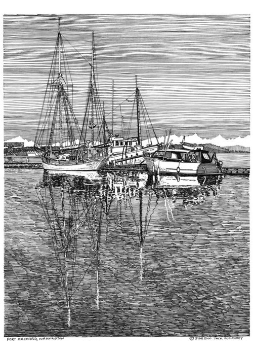 Yacht Portraits Greeting Card featuring the drawing Port Orchard Reflections by Jack Pumphrey