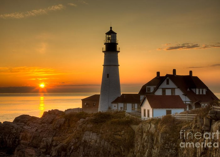 Clarence Holmes Greeting Card featuring the photograph Portland Head Light At Sunrise II by Clarence Holmes