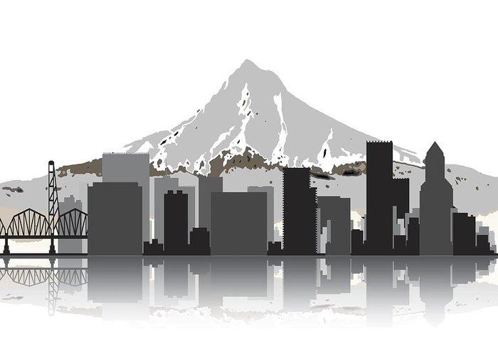 Portland Greeting Card featuring the digital art Portland Oregon Skyline 2 by Daniel Hagerman